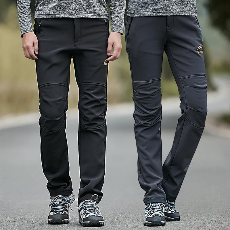 Men Waterproof SOFT Shell Outdoor Trousers Thick Sugan Velvet Hiking Spots Pants