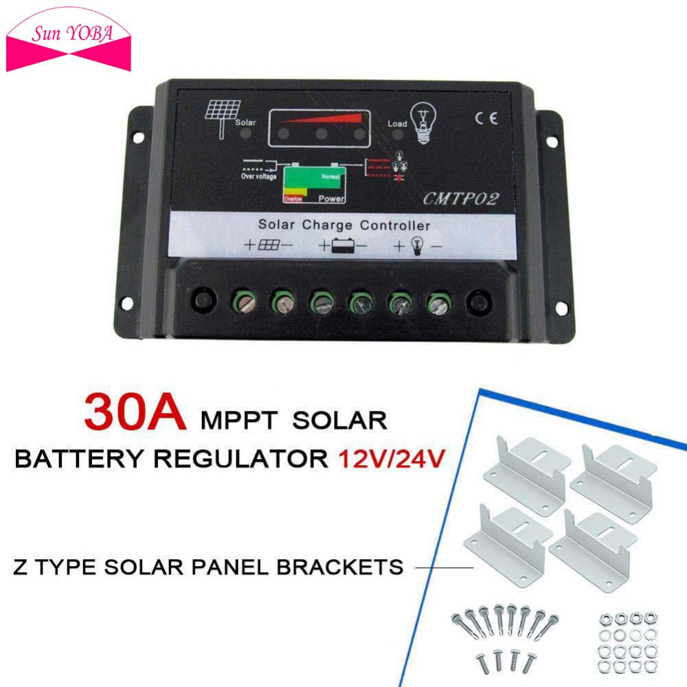 Sun Yoba 30a Mppt 12v 24v Solar Panel Charge Controller Battery Pwm 20a Street Light Autoswitch Regulator Safe Protection Auto Switch Z Shape Brackets Mount In Controllers From