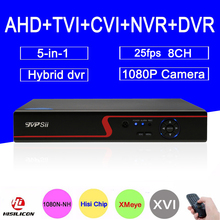 Red Panel 1080P Surveillance camera 1080N H3521A Xmeye 25fps 8CH 8 Channel 5 in 1 Hybrid Wifi NVR CVI TVI AHD DVR FreeShipping