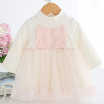Baby Dress 0-2T Toddler Girl Tulle Dress with Flannel Liner Winter Children's Clothes First Birthday Dress with Cat Patch B014