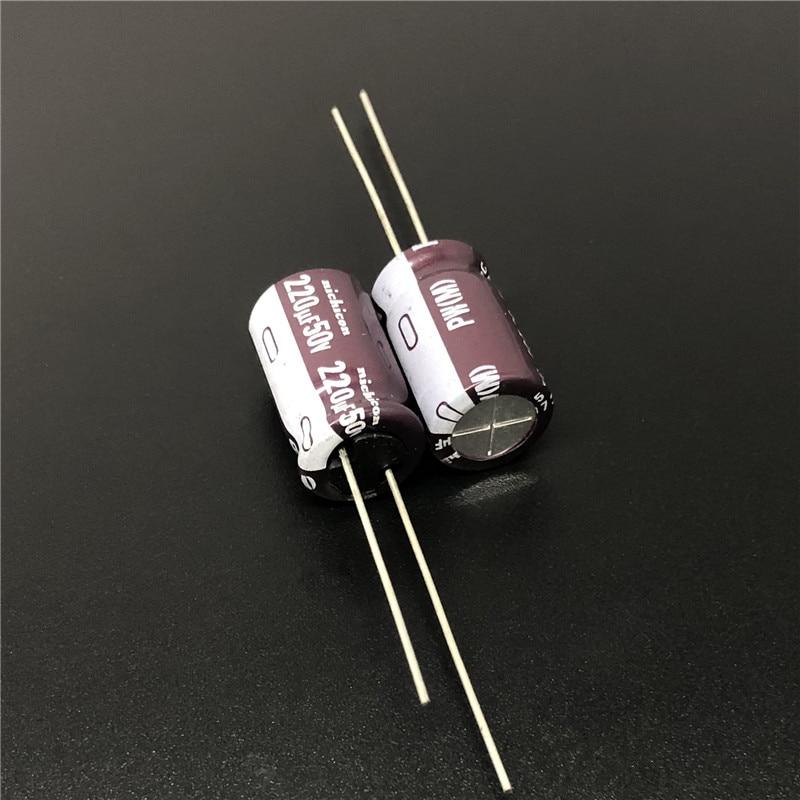 10pcs/100pcs 220uF 50V NICHICON PW Series 10x16mm Low Impedance Long Life 50V220uF Aluminum Electrolytic Capacitor