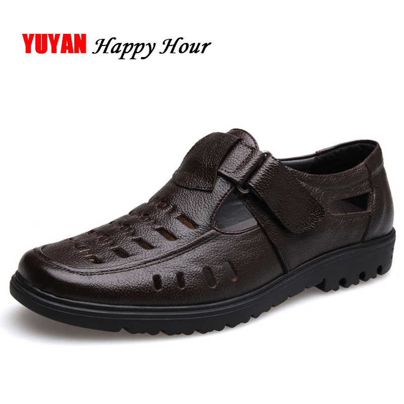 7394cd61 New 2019 Summer Shoes Men Sandals Soft Leather High Quality Men's Casual  Shoes Male Brand Sandals
