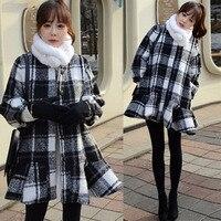 Grid lantaarn mouwen nieuwe winter plaid jas ruches rok stijl o-hals lantaarn mouwen wollen jassen
