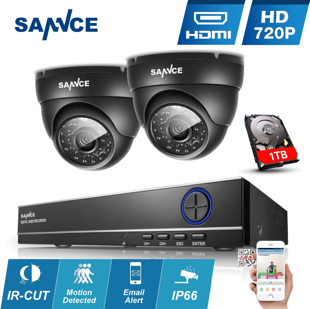 SANNCE 4CH 960H CCTV DVR 900TVL Outdoor IR Night Camera Home Security System 4 Channels 720P Surveillance kits 1TB HDD Optional