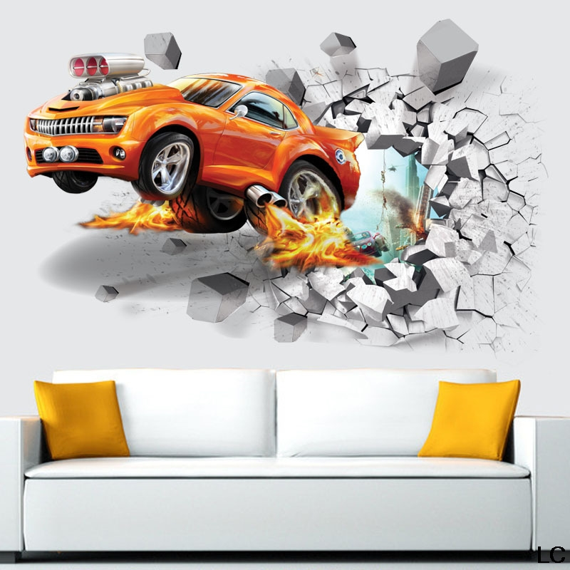 3D Dinosaur Car Wall Stickers Decals for Baby Kids Room Bedroom ...