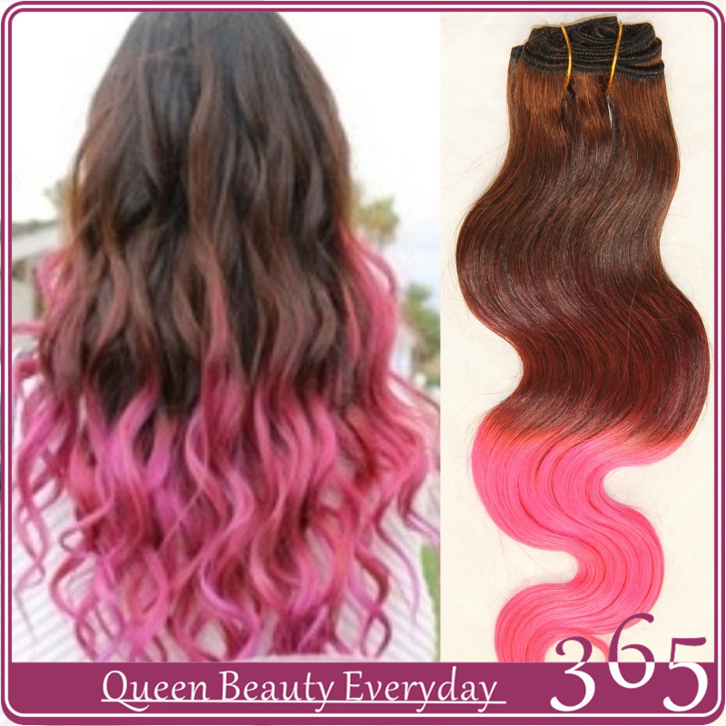 Ombre Hair Extensions Brown Pink Body Wave Brazilian Virgin Human