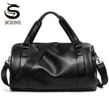 2017 New Men Travel Duffle Bag PU Leather Men's Travel Bags Black Shoulder Handbag Round Bucket Shape Messenger Bag Tote JXY814