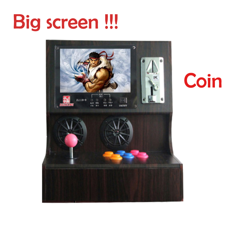 Arcade desktop coin video game console/ Simulator Family Professional classic wooden mini video game machine  free shipping mini table top air hockey game pushers pucks family xmas gift arcade toy playset