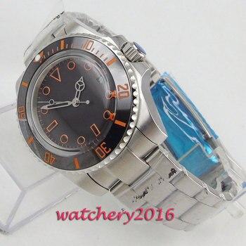 40mm Bliger Black Dial Orange Marks Top Brand Luxury Deployment Automatic Movement men's Watch