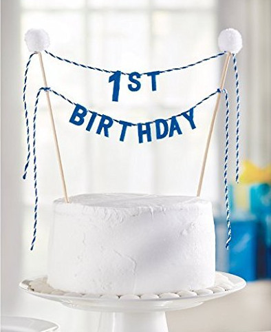 Happyplus New Felt Fabric Blue 1st Birthday Cake Topper Bunting Boy First Party Banner White Pompoms Ball Garland Photo Flag
