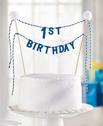 Happyplus New Felt Fabric Blue 1st Birthday Cake Topper Bunting Boy First Party Banner White Pompoms