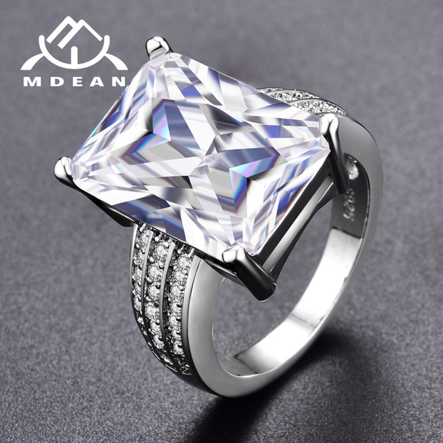 Mdean White Gold Color Clear Stone Rings For Women Jewelry Engagement Wedding Bijoux