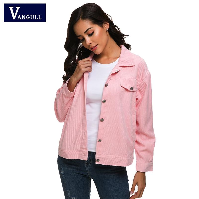 VANGULL Harajuku Corduroy   Jackets   Women   Basic     Jacket   Coats Ladies Elegant Tops 2019 New Spring Autumn Single Breasted Outwear