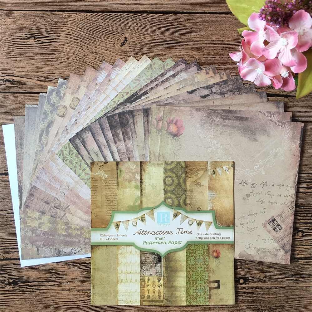 24 Stks/pak 6*6 Inch Aantrekkelijk Tijd Patroonpapier Pack Scrapbooking Diy Planner Kaart Maken Journal Project Brief Pad