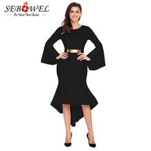Фотография Sebowel Winter Bodycon Dresses Long Flare Sleeve Midi Dress With Belt Women Party Sexy Mermaid Dress Vestidos De Festa Longo