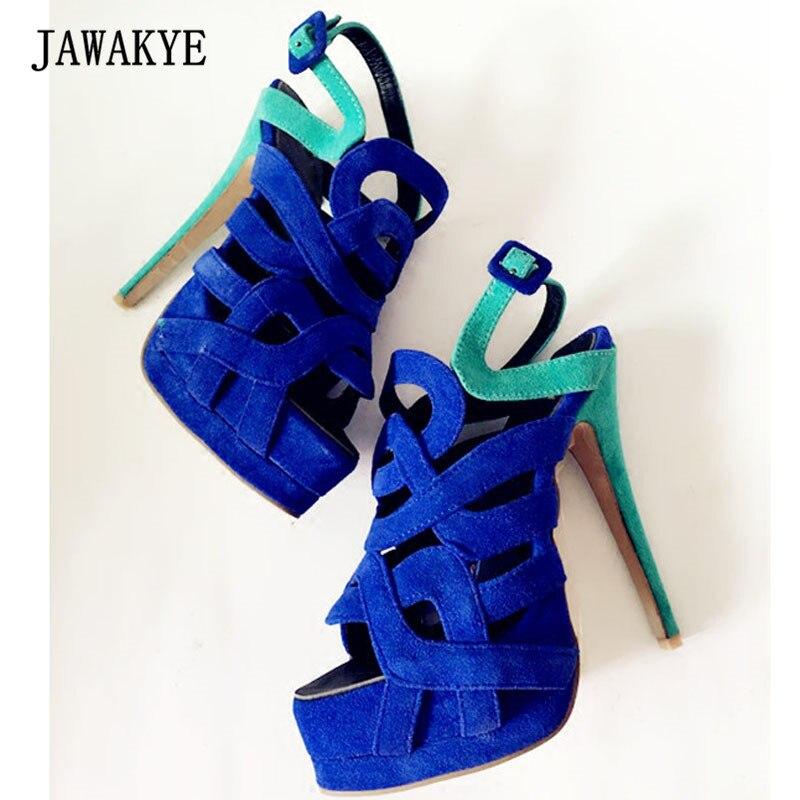 2018 Blue Suede Platform 14CM High Heel Shoes Woman Open Toe Hollow Mix Color Patchwork Gladiator Sandals Women Wedding Shoes suede zipper hollow platform high heel womens sandals