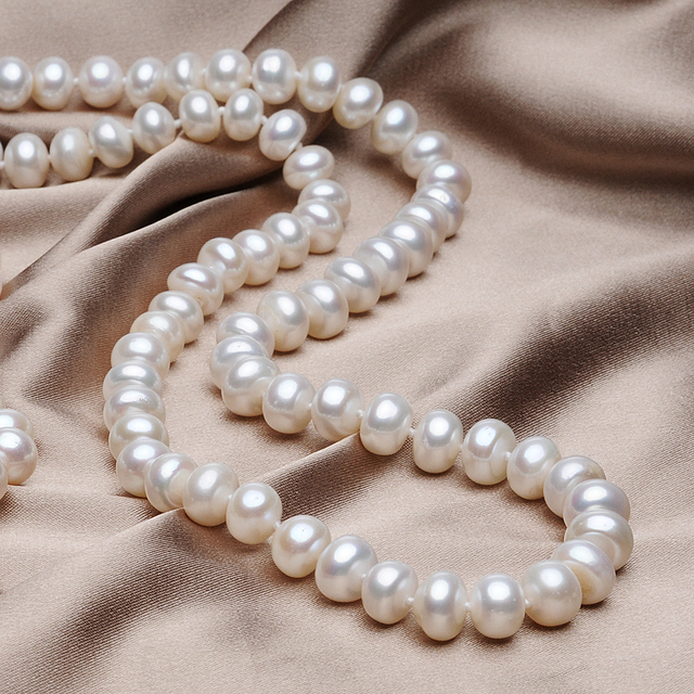 FEIGE Genuine 6.5-7.5mm Natural White Freshwater Pearl Choker Necklaces For Women's Wedding Jewelry Good gifts for Friends