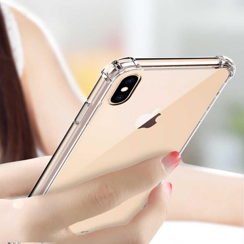 Odporna na wstrząsy, przezroczysta, miękki futerał na telefon dla iPhone X XS Max XR 6 s 6S 7 8 Plus 5 5S 11 Pro Max silikon luksusowe tylna pokrywa