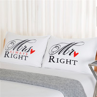 Drop Shipping Mr Right Mrs Always Right Couple Pillow Case Set Of 2 Pcs Wedding Matching
