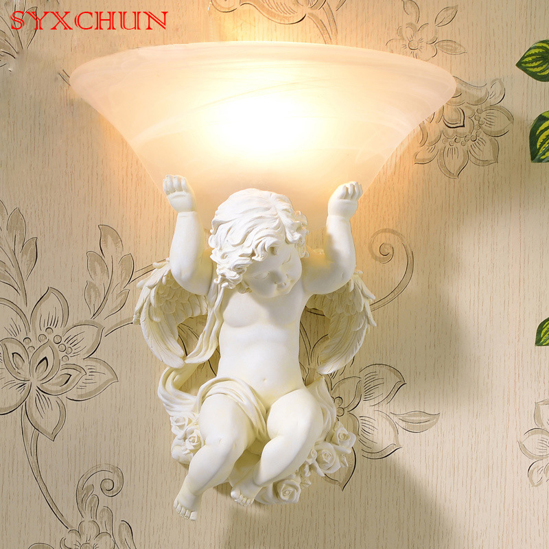 European-style living room background wall lamp bedroom bedside glass led personality simple angel staircase aisle wall lamp european full copper wall lamp bedroom bedside lamp american living room background wall aisle corridor staircase copper lamp