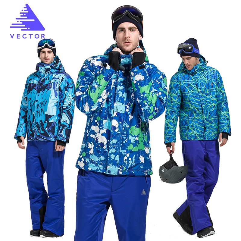 VECTOR Ski Suit Men Windproof Waterproof Skiing Jacket and Pants Warm Winter Outdoor Snow Snowboard Set Brand HXF70012