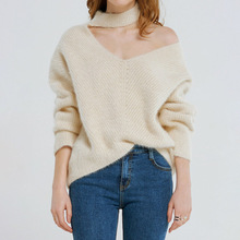 NiceMix 2019 Autumn And Winter Women Female Pullover Knitted Sweatters Femme Fashion Irrugular Neck Off Shoulder Sexy Pullovers