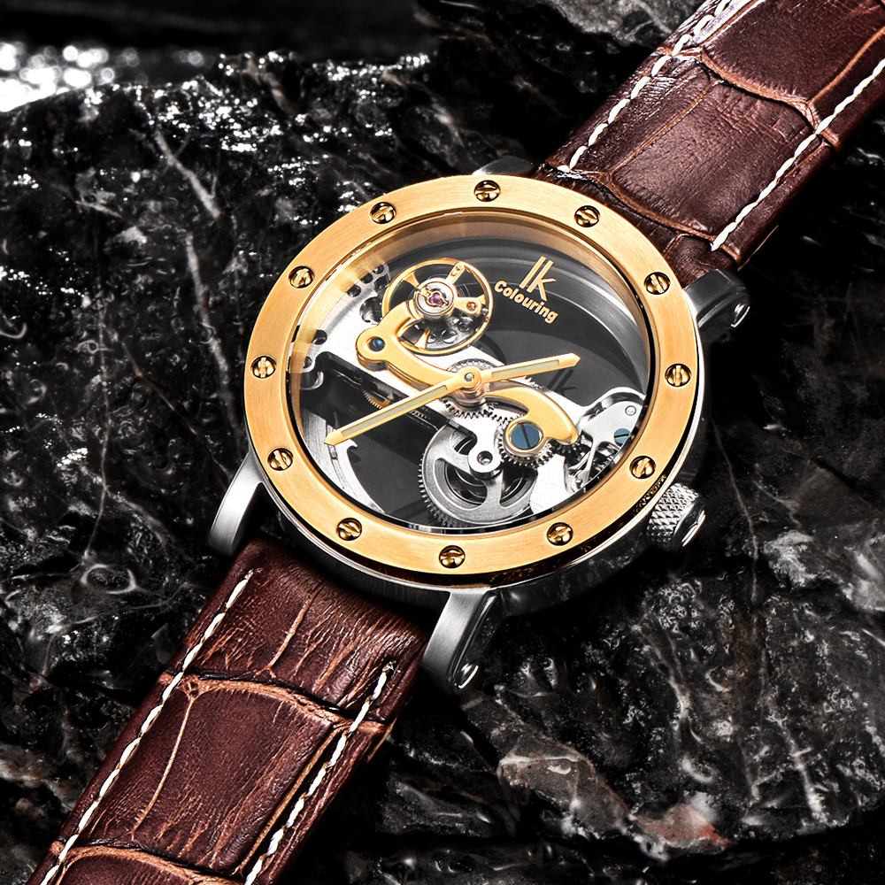 IK colouring Gold Hollow Automatic Mechanical Watches Men Luxury Brand Leather Strap Casual Vintage Skeleton Watch Clock relogio ks black skeleton gun tone roman hollow mechanical pocket watch men vintage hand wind clock fobs watches long chain gift ksp069