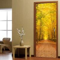 2Pcs Set Forest Door Wall Stickers Bedroom Home Decor DIY Mural Poster PVC Waterproof Door Sticker