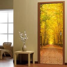 3D двери стены Стикеры DIY Домашний Декор Книги по искусству росписи творческий виниловые обои Водонепроницаемый деревянный осенние листья наклейки на двери