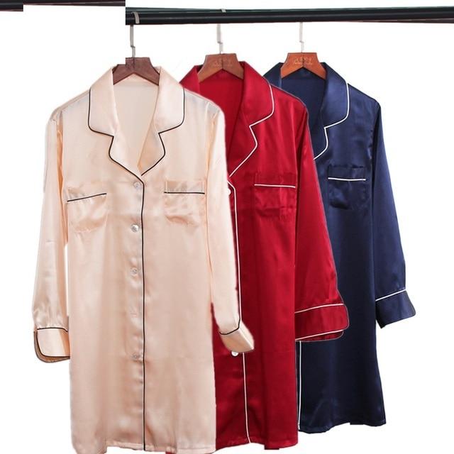 Womens Summer 100% silk Stain Red Sleepgown Sleepwear Solid Red Homewear Full Sleeve Silk Night Dress Sleeping Night Wear Pink