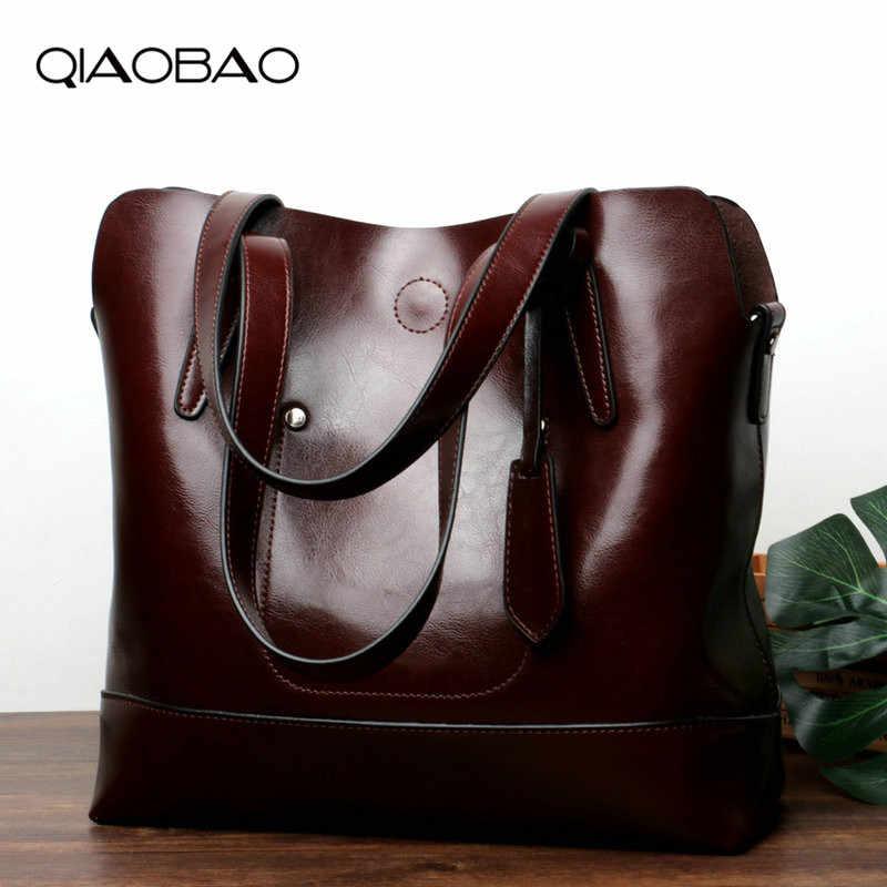 QIAOBAO หรูหราแฟชั่น Casual Totes กระเป๋ากระเป๋าถือผู้หญิงที่มีชื่อเสียง Cowhide หนัง Vintage กระเป๋าไหล่หญิงกระเป๋าสำหรับสุภาพสตรี