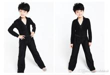 цена на 20set/lot ( Top + Pants ) V-neck Long Sleeves Design Boys Latin Dance Apparel Set Stagewear tlm001