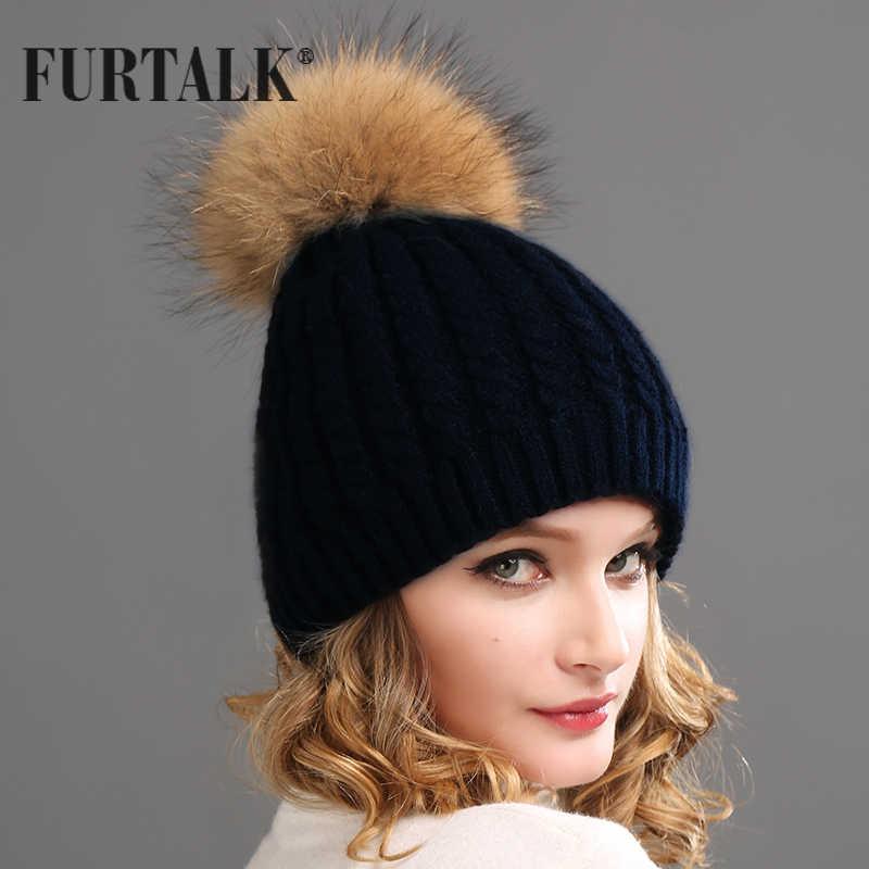 03feb0d2 Furtalk Russian Real Fur Hat Double Lining Real Raccoon Pom Pom Hat Women  Winter Hat beanie