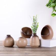 5 pcs Ceramic Classic Simple Creative Desktop Small Coarse Pottery Vase Hydroponic Room Decoration Home Furnishing