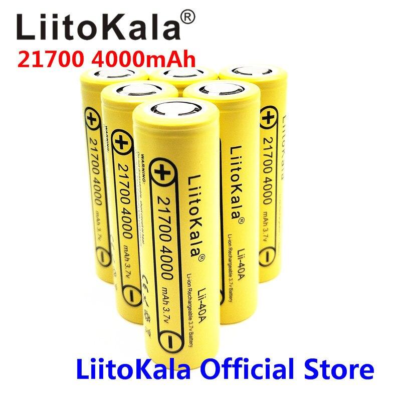 2019 6PCS LiitoKala Lii-40A 21700 4000mAh Rechargeable Li-Ion Battery 3.7 V 15A Power 5C Discharge 21700 Battery