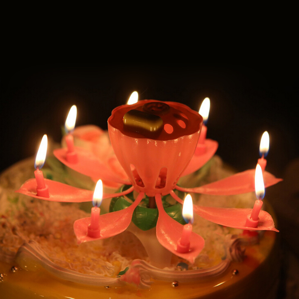 Amazing Romantic Musical Lotus Happy Birthday Wedding Candle Magical Sparklers For Party Velas Decorativas De Cera