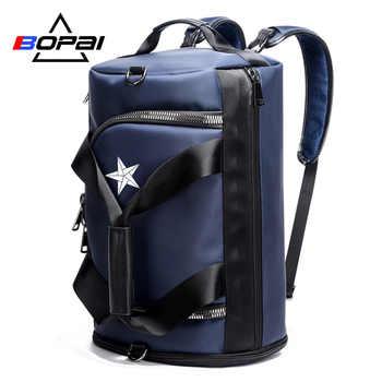 BOPAI Brand Multifunction Travel Backpack Bag Large Capacity Man Travel Shoulders Bag Rucksack Male BackpackFashion Black Blue - DISCOUNT ITEM  35% OFF All Category