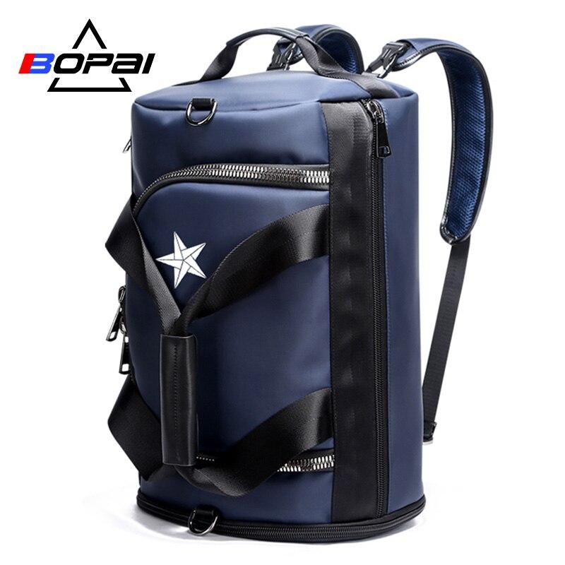 Mochila de viaje de marca BOPAI multifunción bolsa de gran capacidad para hombre, mochila de viaje, mochila para hombre, BackpackFashion, negro y azul-in Mochilas from Maletas y bolsas    1