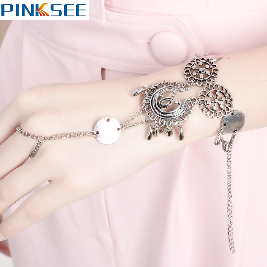 Brand New Bohemia Style Hand Harness Alloy Slave Chain Bracelets Handmade Gypsy Beach Jewelry For Women Accessories