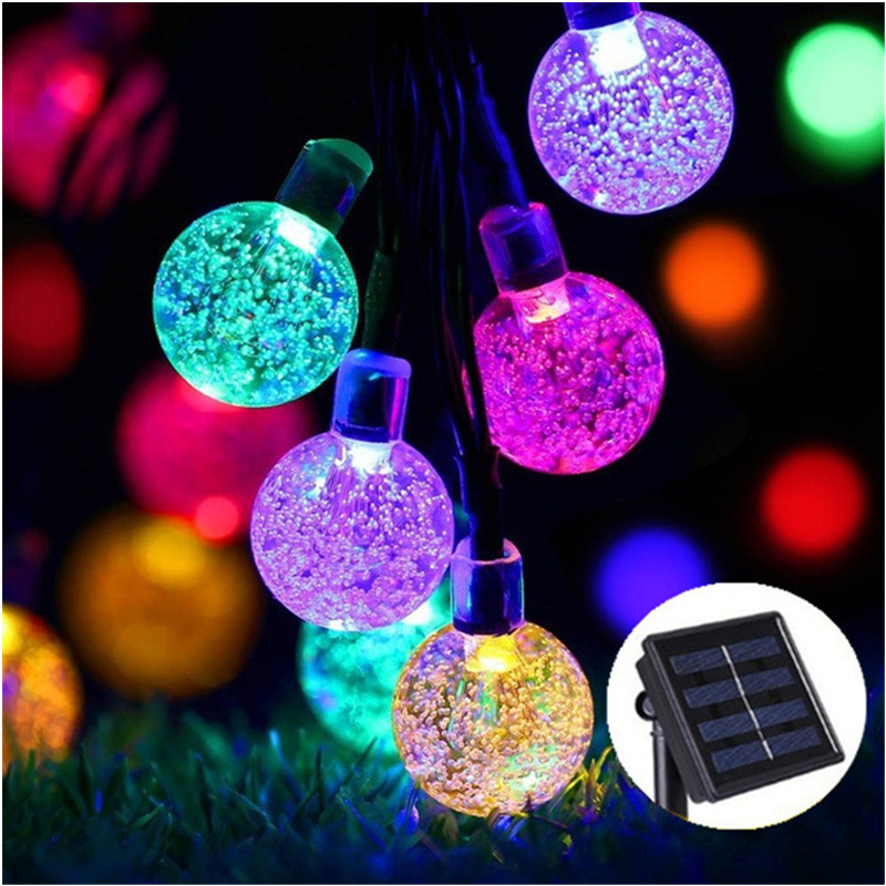 New 50 LEDS 10M Crystal ball Solar Lamp Power LED String Fairy Lights Solar Garlands Garden Christmas Decor For Outdoor Colorful