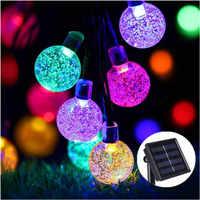 New 50 LEDS 10M Crystal ball Solar Lamp Power LED String Fairy Lights Solar Garlands Garden Christmas Decor For Outdoor Colorful