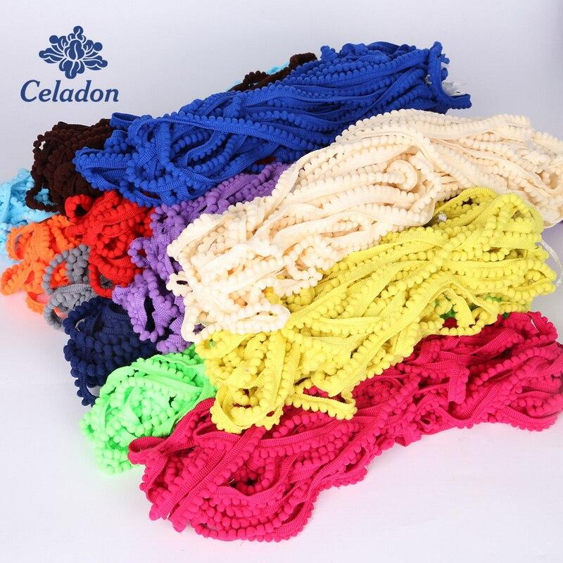 5Yard Pom Pom garniture balle 10mm MINI perle pompon frange ruban couture dentelle tricoté tissu fait à la main bricolage artisanat accessoires