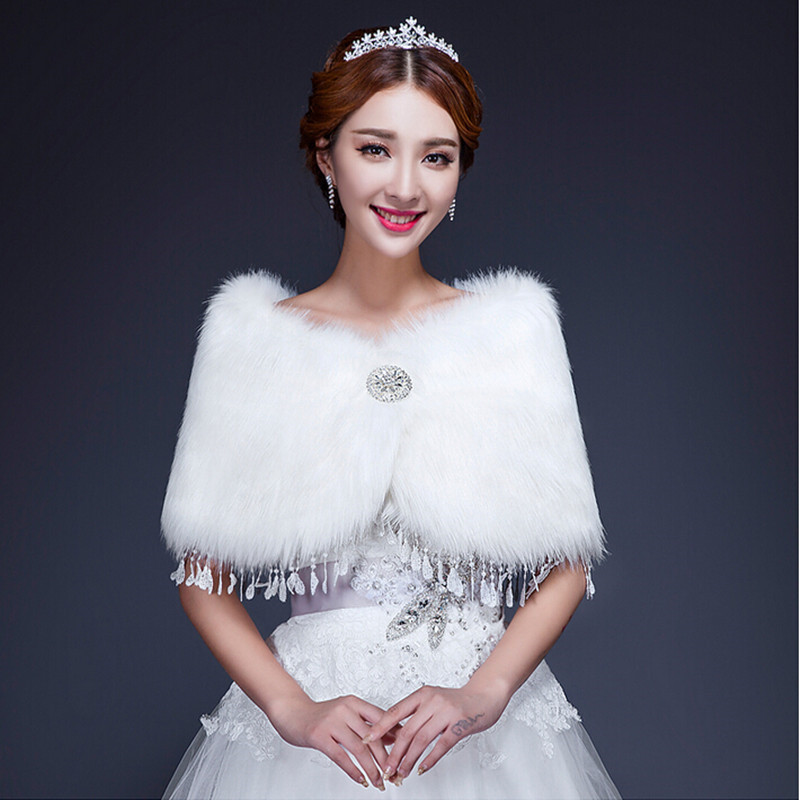 Buy lace edge beige white faux fur wrap for Winter shawls for wedding dresses