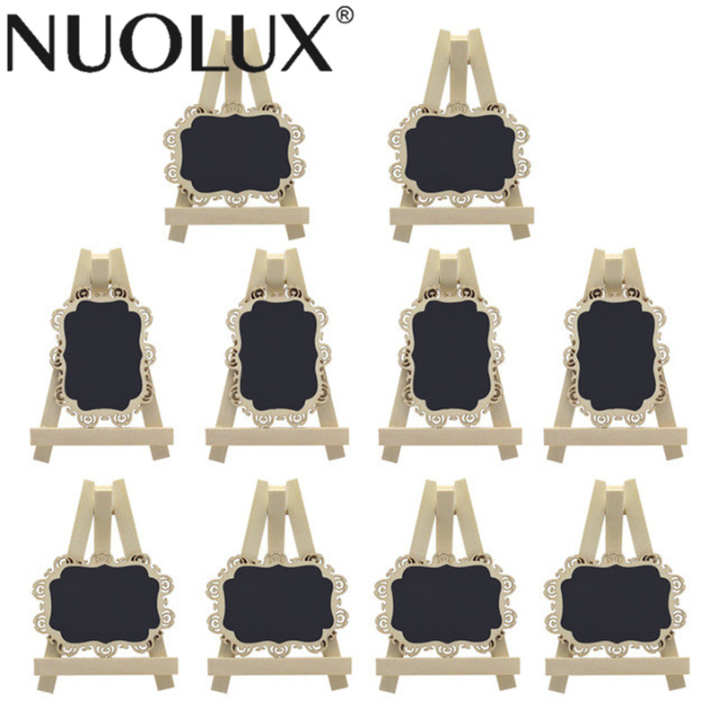 10pcs Mini Rectangle Chalkboards with Easel and Decorative Border for Wedding Party Table Number Sign Place Card Favor Tag