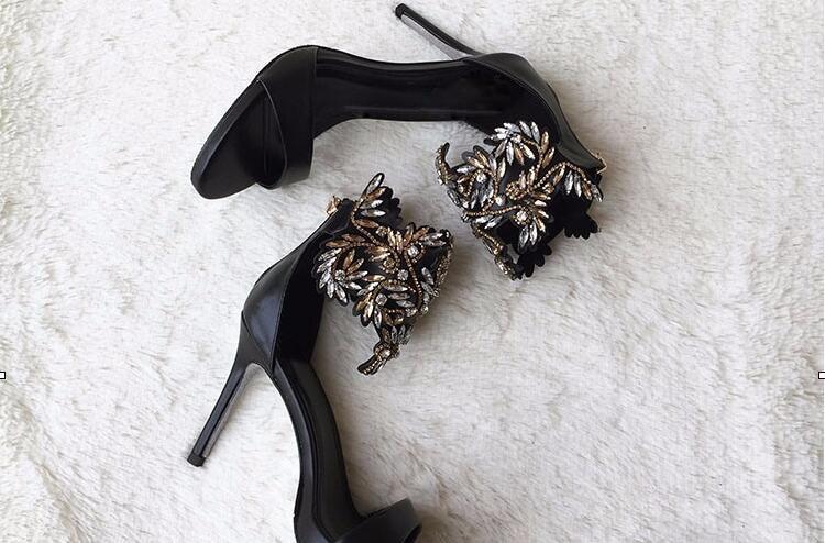 ФОТО Luxury Crystal decorated high thin heel black cover heel back zipper sexy beautiful  peep toe dress shoes sandals for woman