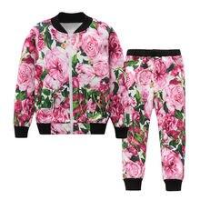 Модный спортивный костюм с цветочным принтом для маленьких девочек