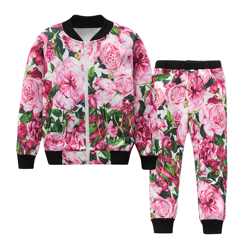 Fashion Flower Print Tracksuits for Baby Girls Boys Children's Clothes Set Casual Kids Sportwear Spring and Autumn Track Suit spring autumn vestidos tracksuit girls sports suit kids fashion hooded sportwear children track suit clothes set casual outfit