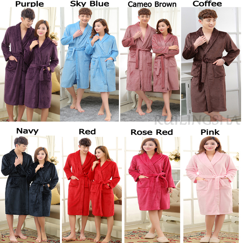New Arrival Lovers Luxury Silk Flannel Winter Long Bathrobe Mens ...