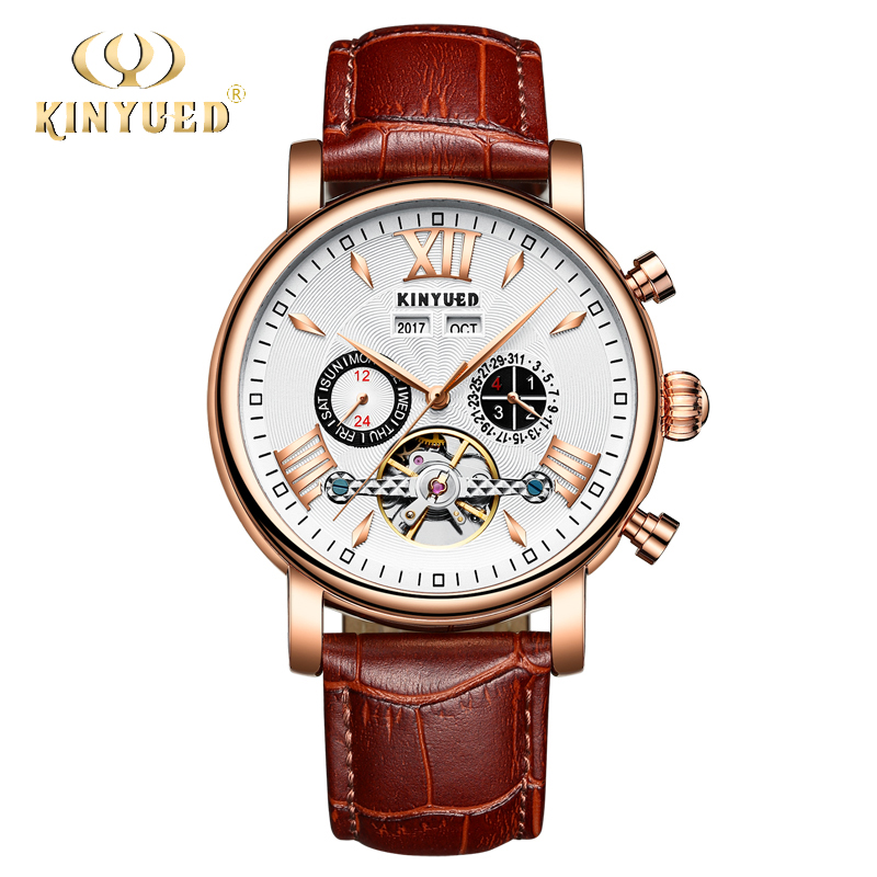 KINYUED Perpetual Calendar Watch Men Tourbillon Mechanical Automatic Mens Watches Leather Self-Wind Rose Gold Relogio Masculino ailang brand men automatic self wind watches leather skeleton tourbillon mechanical clock male rose gold shell watch new