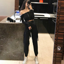 2019 Ins Hot Women High-waisted Cargo Pants Safari Style Bel